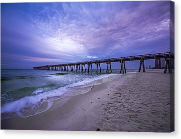 Panama City Beach Pier In The Morning Canvas Print by David Morefield