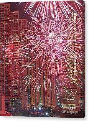 Panama Fireworks Canvas Print by Bob Hislop