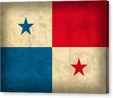 Panama Flag Vintage Distressed Finish Canvas Print by Design Turnpike