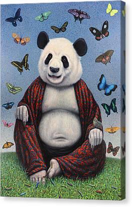 Panda Buddha Canvas Print by James W Johnson