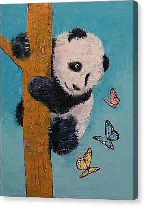 Panda Butterflies Canvas Print by Michael Creese