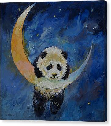 Panda Stars Canvas Print by Michael Creese