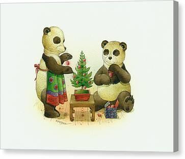 Pandabears Cristmas 02 Canvas Print by Kestutis Kasparavicius