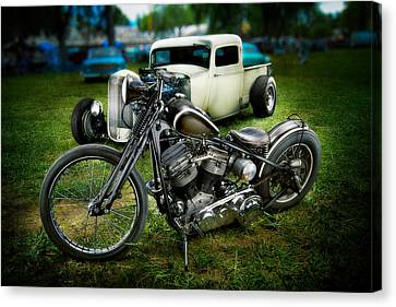 Panhead Harley And Ford Pickup Canvas Print by YoPedro