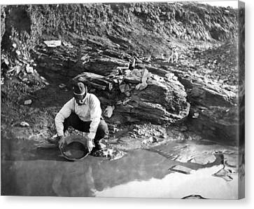 Panning For Gold In Alaska Canvas Print by Underwood Archives