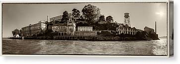 Panorama Alcatraz Torn Edges Canvas Print by Scott Campbell