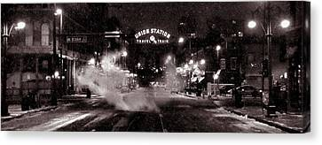 Panorama Of Denver Union Station During Snow Storm Canvas Print by Ken Smith