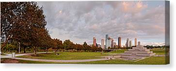 Panorama Of Downtown Houston And Police Memorial - Houston Texas Canvas Print by Silvio Ligutti