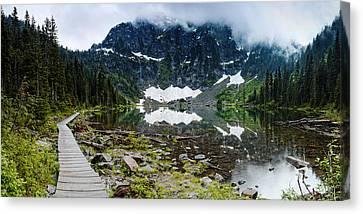 Panorama Of Lake 22 And Mount Pilchuck - Cascades Washington State Canvas Print by Silvio Ligutti