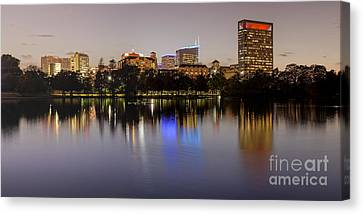 Panorama Of Mcgovern Lake And Texas Medical Center At Twilight- Hermann Park Houston Texas Canvas Print by Silvio Ligutti
