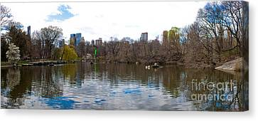 Panorama Of The Lake Of Central Park New York City Canvas Print by Thomas Marchessault