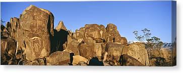 Panoramic Image Of Petroglyphs At Three Canvas Print by Panoramic Images