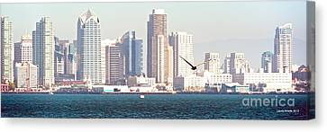Panoramic Image Of San Diego From The Harbor Canvas Print by Artist and Photographer Laura Wrede