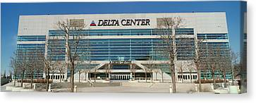 Panoramic Of Delta Center Building Canvas Print by Panoramic Images