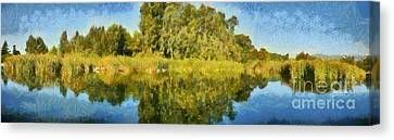 Panoramic Painting Of Ducks Lake Canvas Print by George Atsametakis