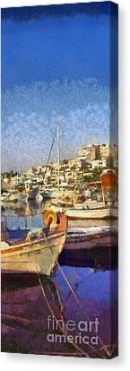 Panoramic Painting Of Mikrolimano Port Canvas Print by George Atsametakis