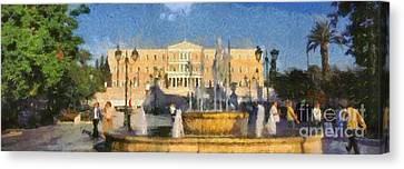 Panoramic Painting Of Syntagma Square In Athens Canvas Print by George Atsametakis