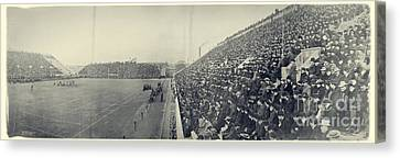 Panoramic Photo Of Harvard  Dartmouth Football Game Canvas Print by Edward Fielding