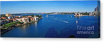 Panoramic Sydney Harbour Canvas Print by Kaye Menner