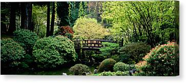 Panoramic View Of A Garden, Japanese Canvas Print by Panoramic Images