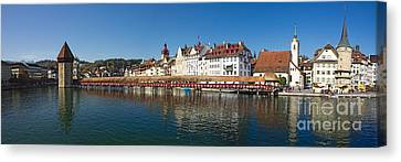 Panoramic View Of Historic Lucerne Canvas Print by George Oze
