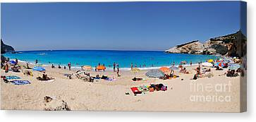 Panoramic View Of Porto Katsiki Beach Canvas Print by George Atsametakis