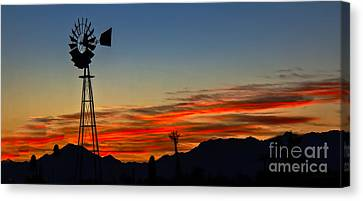 Panoramic Windmill Silhouette Canvas Print by Robert Bales