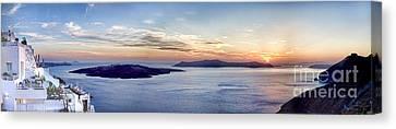 Panorama Santorini Caldera At Sunset Canvas Print by David Smith