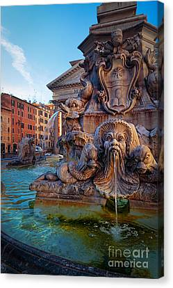 Pantheon Fountain Canvas Print by Inge Johnsson