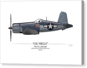 Pappy Boyington F4u Corsair - White Background Canvas Print by Craig Tinder