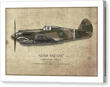 Pappy Boyington P-40 Warhawk - Map Background Canvas Print by Craig Tinder
