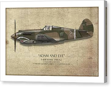 Pappy Boyington P-40 Warhawk - Map Background Canvas Print by Craig Tinder