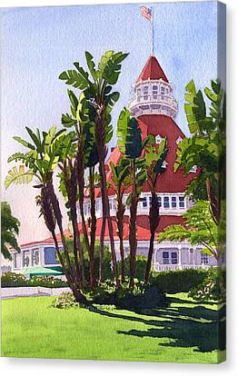 Paradise At The Hotel Del Coronado Canvas Print by Mary Helmreich