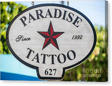 Paradise Tattoo Key West  Canvas Print by Ian Monk