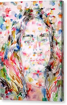 Paramahansa Yogananda Watercolor Portrait Canvas Print by Fabrizio Cassetta