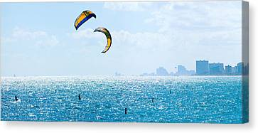Parasailing Over The Atlantic Ocean Canvas Print by Panoramic Images