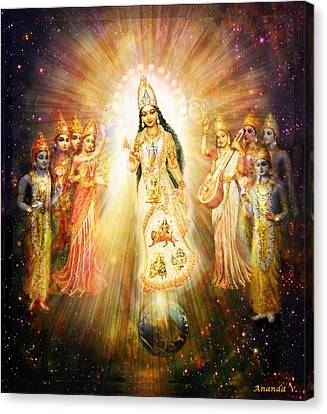 Parashakti Devi - The Great Goddess In Space Canvas Print by Ananda Vdovic