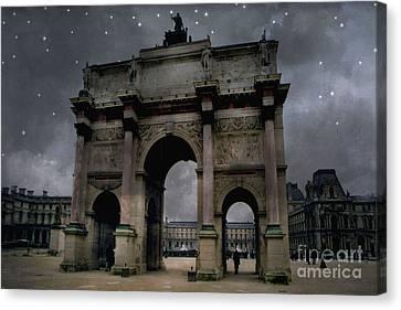 Paris Arc Du Carousel - Louvre Museum Arc De Triomphe - Starry Night Blue Paris Louvre Courtyard Canvas Print by Kathy Fornal