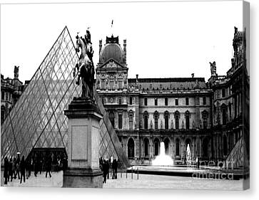 Paris Black And White Photography - Louvre Museum Pyramid Black White Architecture Landmark Canvas Print by Kathy Fornal
