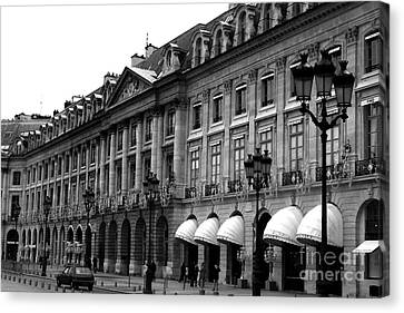 Paris Black And White Photography - Place Vendome Hotel Chaumet Architecture Street Lanterns Canvas Print by Kathy Fornal