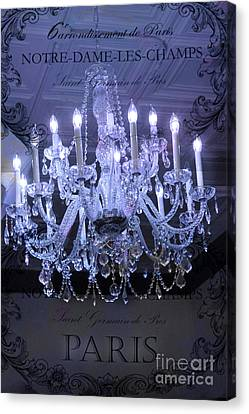Paris Blue Crystal Chandelier Sparkling Chandelier Art - Paris Blue Shimmering Chandelier Art Deco  Canvas Print by Kathy Fornal