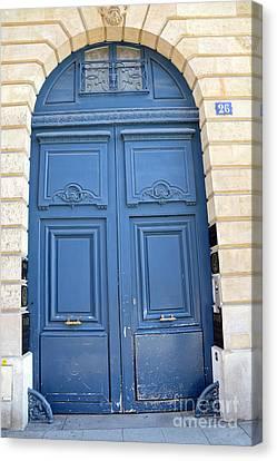 Paris Blue Doors No. 26 - Paris Romantic Blue Doors - Paris Dreamy Blue Doors - Parisian Blue Doors Canvas Print by Kathy Fornal