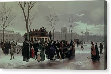 Paris Bus Accident Canvas Print by Alphonse Cornet
