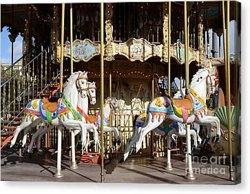 Paris Carousel Horses - Champs Des Mars - Paris Carousel Merry Go Round  Canvas Print by Kathy Fornal