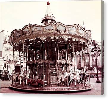 Paris Carousel Merry Go Round At Hotel De Ville - Paris Carousel Horses At Hotel De Ville Canvas Print by Kathy Fornal