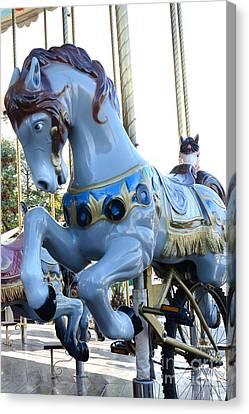 Paris Carousel Merry Go Round Horse Pony - Paris Blue Carousel Pony Baby Boy Blue Carnival Decor Canvas Print by Kathy Fornal