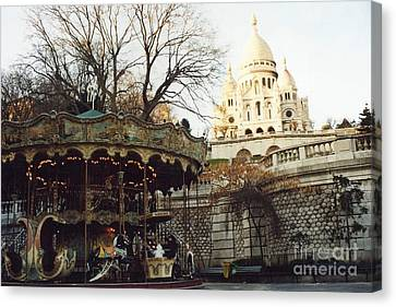 Paris Carousel Merry Go Round Montmartre - Carousel At Sacre Coeur Cathedral  Canvas Print by Kathy Fornal