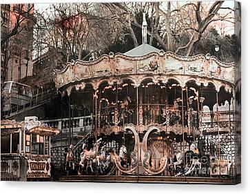 Paris Carousel Merry Go Round Sepia -  Paris Carousel Montmartre District Sacre Coeur Canvas Print by Kathy Fornal