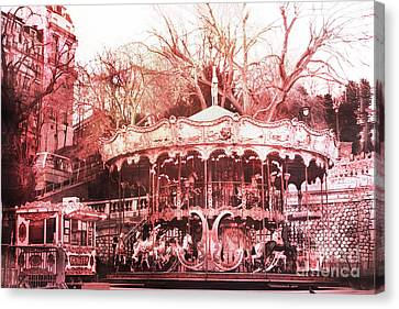 Paris Carousel Montmartre District Red Carousel Canvas Print by Kathy Fornal