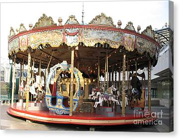 Paris Carousels Merry Go Round Horses - Paris Carousel Rides Fine Art Photography Canvas Print by Kathy Fornal